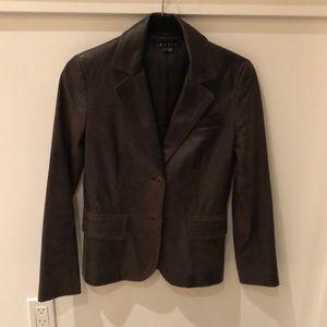 Theory brown leather Madge blazer